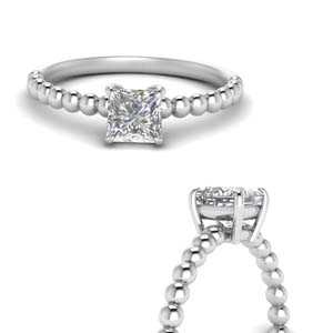 Bead Princess Cut Solitaire Ring