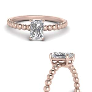 Bead Design Solitaire Diamond Ring