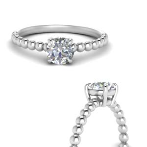 Round Diamond Bead Solitaire Ring