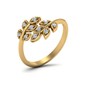 open leaf diamond band in 14K yellow gold FD71898ANGLE2 NL YG