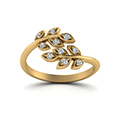 open leaf diamond band in 14K yellow gold FD71898ANGLE5 NL YG