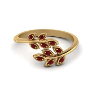 open leaf ruby band in 14K yellow gold FD71898GRUDR NL YG