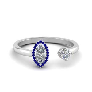 Marquise Sapphire Open Wrap Ring