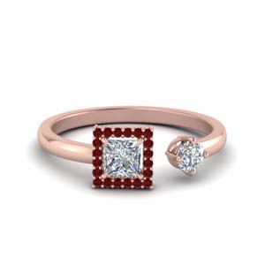 Square Halo Open Ring With Ruby