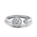 round cut diamond open wrap engagement ring in 14K white gold FD71903ROR NL WG
