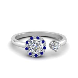 Round Halo Sapphire Open Ring
