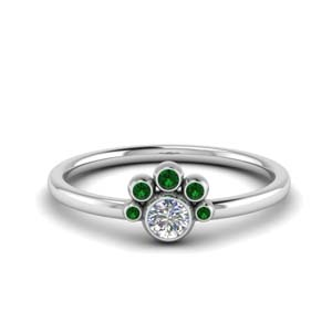 Emerald Bezel Set Diamond Ring