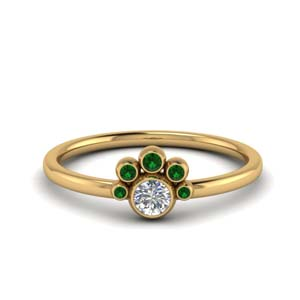 Petite Bezel Set Emerald Ring