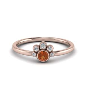 Orange Sapphire Ring Bezel Set