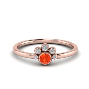 Orange Topaz Bezel Set Ring
