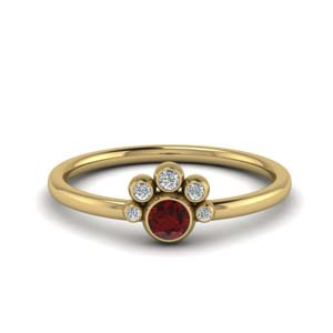 Unusual Ruby Bezel Set Ring