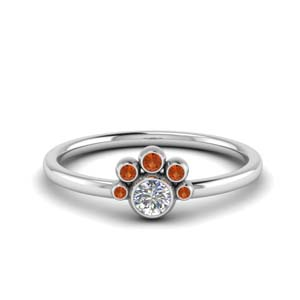 Orange Sapphire Bezel Set Ring