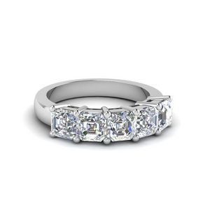 14K White Gold 5 Stone Band