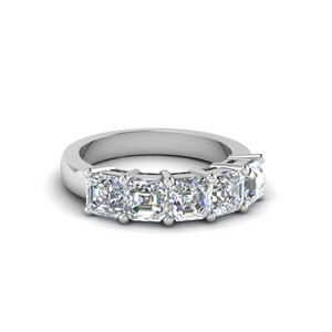 One Karat Asscher Wedding Band