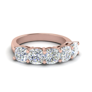 Cushion Cut Band 14K Rose Gold