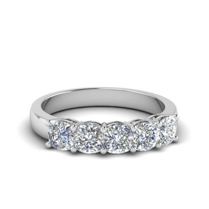 Cushion Cut 5 Stone Band One Carat