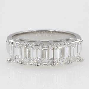 2.50 carat emerald cut 5 stone anniversary band in 950 platinum FD8008EMBRS 2.50CT