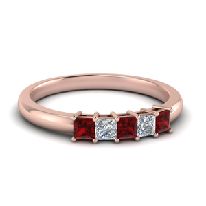 5 Stone Princess Cut Band