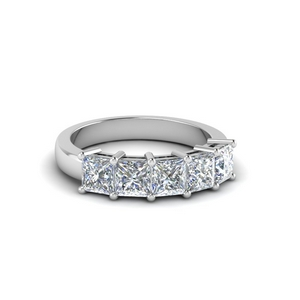 Princess Cut 18K White Gold Diamond Band