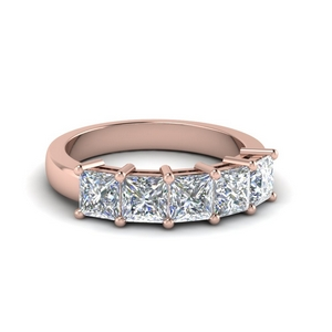 18K Rose Gold Five Stone Wedding Ring