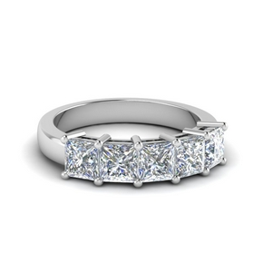 Princess Cut Five Stone Band 14K White Gold