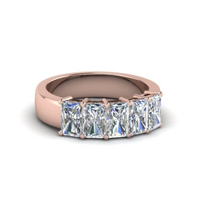 1.50 ct. diamond radiant wedding band 5 stone in 18K rose gold FD8008RAB 1.5CT NL RG