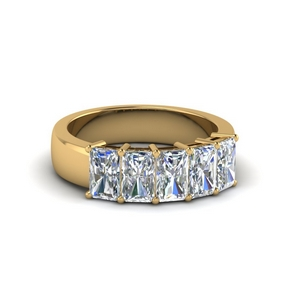 1.50 ct. diamond radiant wedding band 5 stone in 14K yellow gold FD8008RAB 1.5CT NL YG