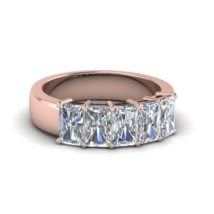 2.5 ct. diamond radiant 5 stone wedding band in 18K rose gold FD8008RAB 2.5CT NL RG