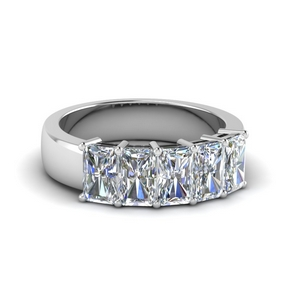 2.5 ct. diamond radiant 5 stone wedding band in 14K white gold FD8008RAB 2.5CT NL WG