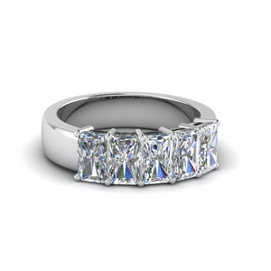 five stone radiant diamond anniversary band 2 ct. in 14K white gold FD8008RAB 2CT NL WG