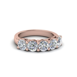 Five Stone Wedding Band 18K Rose Gold