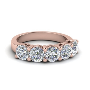 Rose Gold Band Five Stone