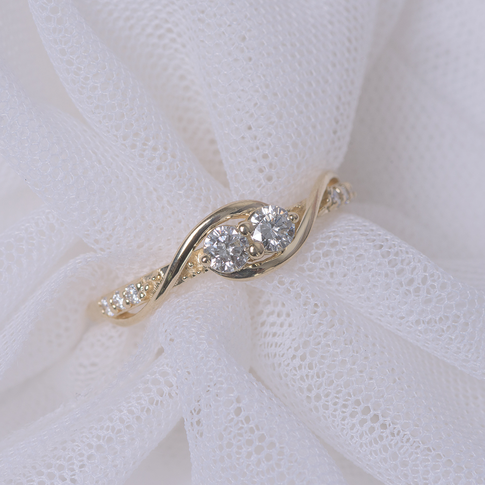 Bypass Two Stone Diamond Ring