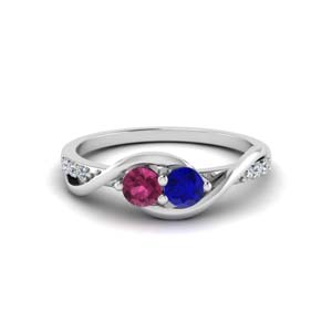 Twisted 18K White Gold 2 Stone Ring