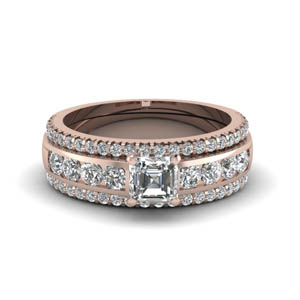 asscher diamond bridal trio set in FD8026TASANGLE1 NL RG