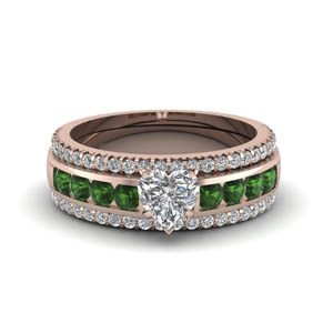 heart diamond bridal trio set with emerald in FD8026THTGEMGRANGLE1 NL RG