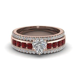 heart diamond bridal trio set with ruby in FD8026THTGRUDRANGLE1 NL RG