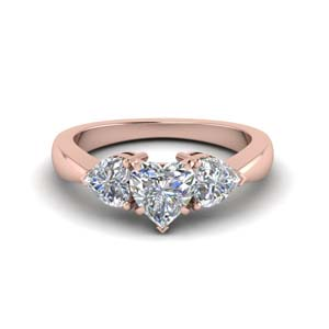 Three Heart Shaped Diamond Ring