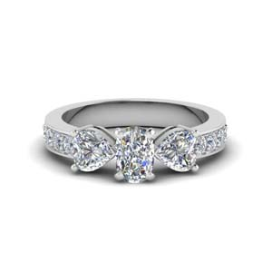 Pave 3 Stone Diamond Ring 2 Carat
