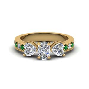 cushion cut pave 3 stone diamond engagement ring with emerald in FD8031CURGEMGR NL YG
