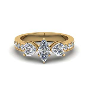 marquise cut pave 3 stone diamond engagement ring in FD8031MQR NL YG