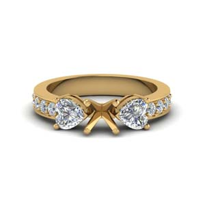Semi Mount Pave Three Stone Ring