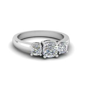 classic cushion cut 3 stone engagement ring in FD8035CUR NL WG