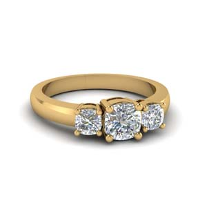 Classic Cushion 3 Stone Ring