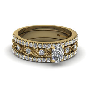 Milgrain Diamond Bridal Set