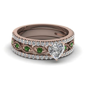 heart shaped milgrain diamond trio bridal sets with green emerald in 14K rose gold FD8037THTGEMGR NL RG