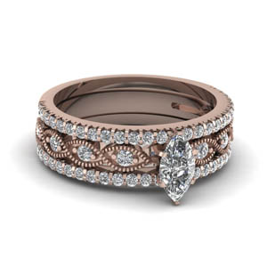marquise cut milgrain diamond trio bridal sets in 18K rose gold FD8037TMQ NL RG