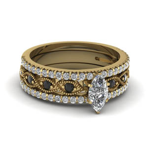 marquise cut milgrain diamondtrio bridal sets with black diamond in 14K yellow gold FD8037TMQGBLACK NL YG