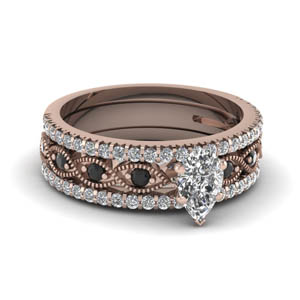 pear shaped milgrain trio bridal sets with black diamond in 14K rose gold FD8037TPEGBLACK NL RG