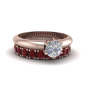Solitaire Engagement Ring With ruby Eternity Band in 14K rose gold FD8038ROGRUDR NL RG